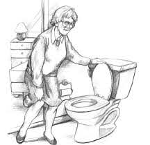 Lady using the toilet